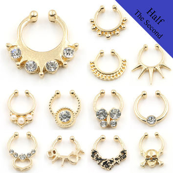 2016 New Mrs. Piercing Hanger Gold Crystal Simulated Pear Letter Fake Nose Rings and Studs Fake Septum Nose Hoop Body Jewelry