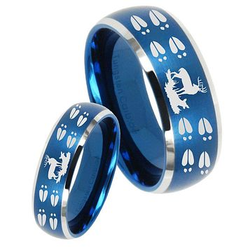 His Her Satin Blue Dome Deer Hunting Tracks Two Tone Tungsten Wedding Rings Set
