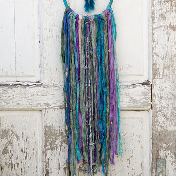 Bohemian Dreamcatcher, Blue, Purple, Hippie Decor, Boho, Wall Hanging, Gypsy Art, Home Decor, Coins, Teal, Sari Silk, Lace, Wedding Gift