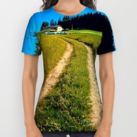 Hiking trail in hot spring scenery All Over Print Shirt by Patrick Jobst   Society6