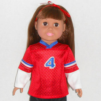 18 inch Girl or Boy Doll Red Football Jersey with Long Sleeves fits AG dolls