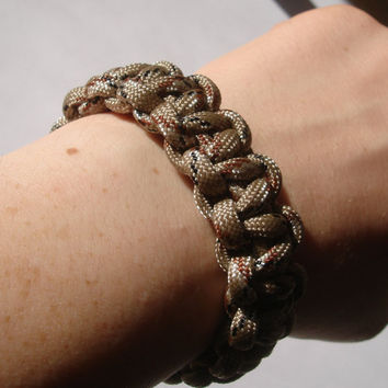 Survival Bracelet in Desert Camouflage 550 paracord by MagicByLeah