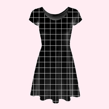 grid print skater dress (black and white) XS - 5XL | cyber punk nu goth pastel grunge aesthetic tumblr minimal modern plus size futuristic