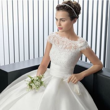 2015 Strapless white ivory Sweetheart Bridal Wedding Dress Formal Gown Free Shipping with sleeve lace