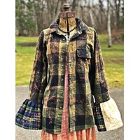 Flared Sleeve Flannel- L HIGHLAND MOSS