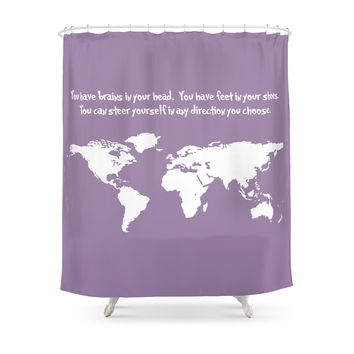 Society6 World Map With Dr. Seuss Quote Shower Curtains
