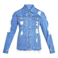 Abegaila Mid Wash Distress Oversized Denim Jacket