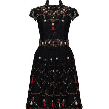 alice + olivia | VOLOSHIN EMBELLISHED LACE DRESS