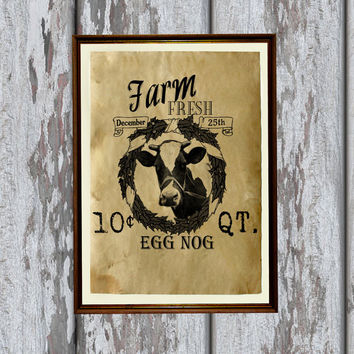 Vintage farm advertisement print Antique paper Antiqued decor 8.3 x 11.7 inches
