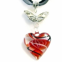 """Glass Fused Pendant Hearts Lampwork Bead Necklace & Earring Set, Handcrafted, Valentines Day """"SALE"""""""
