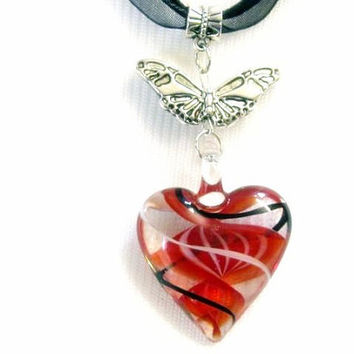 "Glass Fused Pendant Hearts Lampwork Bead Necklace & Earring Set, Handcrafted, Valentines Day ""SALE"""