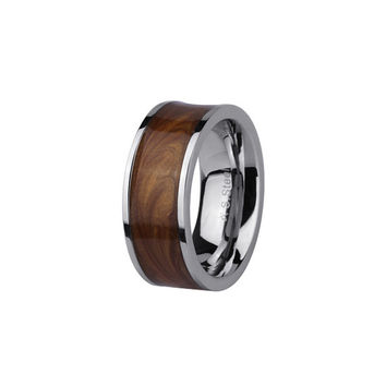 Manly Stainless Steel Band with in Laid Mahogany Design