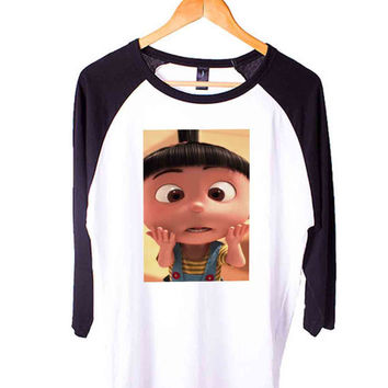 agnes on despicable me Short Sleeve Raglan - White Red - White Blue - White Black XS, S, M, L, XL, AND 2XL*AD*
