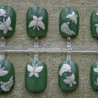Press On Nails- Groovy Retro Butterfly- Fake Nails