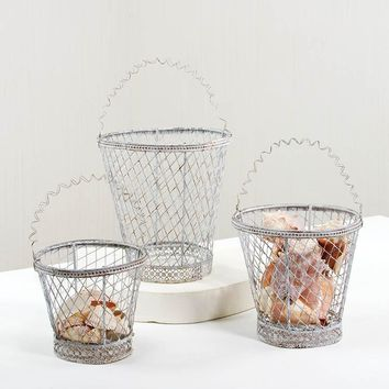 Woven Wire Handled Basket Set Of 3
