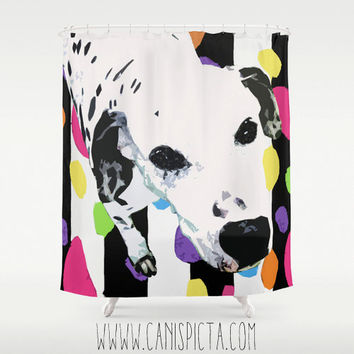 Dalmatian Neon Shower Curtain 71x74 Decorative Modern Bath Bathroom Home Hot Pink Green Lime Black White Purple Bright Dog Animal Blue Room