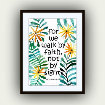 Bible verse Printable Wall Art, watercolor painting, decor, verses decal, scripture decals, For we walk by the faith, 2 Corinthians, nursery