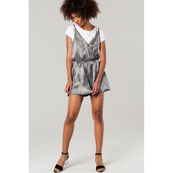 Silver pleated romper