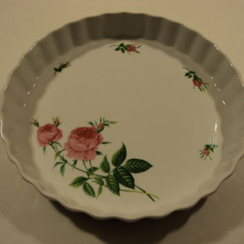 Christineholm Pie Plate Platter White/Green/Pink Roses Country Ceramic -- Used