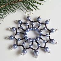 seed bead star in black and ice blue, beaded tree ornament, table decoration or gift tag, Christmas star from beads and wire