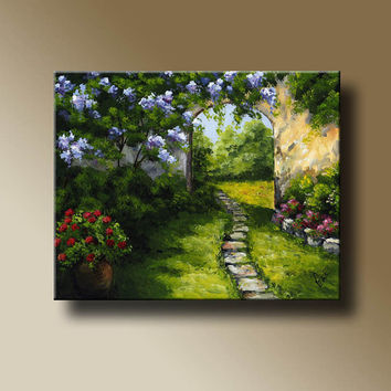 Mediterranean Promenade Landscape Print of Original Acrylic Painting  Wall Art Home Decor MT12007