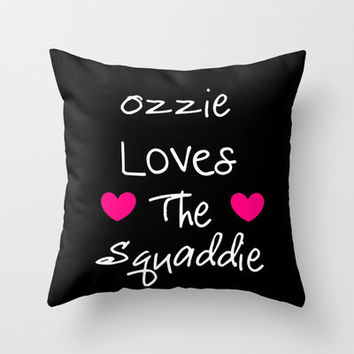 Pillow Cover, Throw Pillow, Doctor Who Pillow, Black Pink Pillow, Dorm Decor, Ozzie Loves the Squaddie Pillow, Bedroom Pillow, Handmade