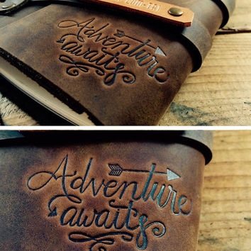 50% OFF Adventure Awaits...Fire Branded Leather Journal....Refillable Notebook Made in Portland, Oregon...SALE! Small only 20 dollars