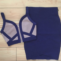 2 Piece Bandage w/ Color Blocked Cropped Top & Navy Skirt Set