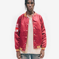 Satin Global Varsity Club Jacket in Maroon