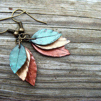 Leaf Earrings  Green Bronze and Copper Polymer Clay by JustClayin