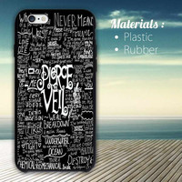 Cool Pierce The Veil Song Lyric black iPhone 4/4S, 5/5S, 5C, 6 Series Hard Plastic Case
