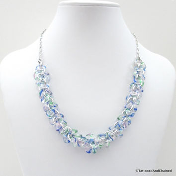 Blue & green glass chainmaille necklace, shaggy loops weave
