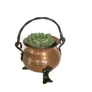 Vintage Copper Kettle Planter Pot Hammered Iron Feet Made in Germany