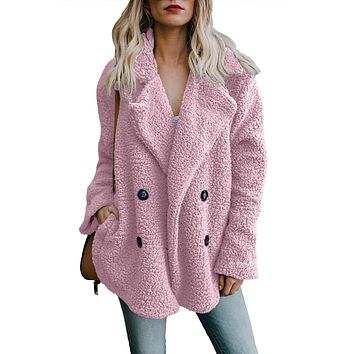 Women Pink Fleece Open Front Coat With Pockets