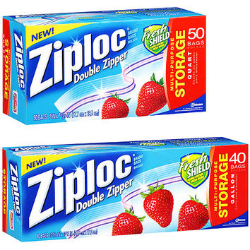 Walmart: Ziploc 1 Quart & 1 Gallon Double Zipper Multi-Purpose Storage Bags, 50 ct