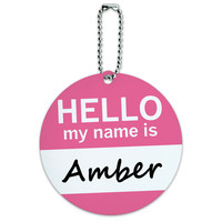 Amber Hello My Name Is Round ID Card Luggage Tag