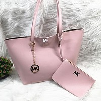Michael Kors MK Women Fashion Leather Tote Satchel Shoulder Bag Set Two Piece
