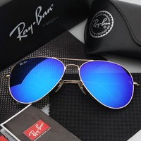 Ray Ban Aviator Matte Gold Blue Mirrored RB 3025 112/17