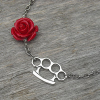 Silver Brass Knuckles Necklace with Red Rose, Rockabilly, Punk Rock,