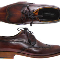 Paul Parkman Men's Wingtip Derby Shoes Tobacco & Bordeaux Hand-Painted Leather Upper with Leather Sole