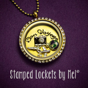 Bon Voyage - Hand Stamped Stainless Locket - Traveling Gold Memory Necklace - Globe Trotting Traveler Jewelry, Personalized Charms Available