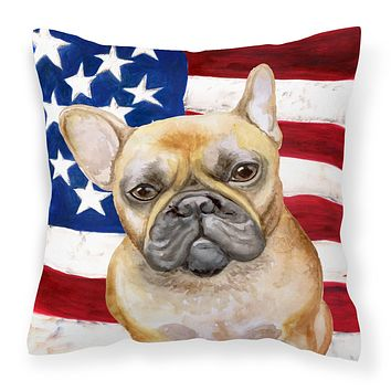 French Bulldog Patriotic Fabric Decorative Pillow BB9688PW1414