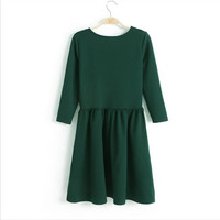 Winter Three-quarter Sleeve Dress Shaped Slim Corset One Piece Dress [4917895812]