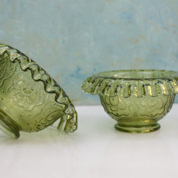 Fenton Glass Bowls / Olive Green with Ruffled Edge / SET of 2