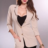 Beige Collared Front Pockets Button Detailing Blazer Outerwear @ Amiclubwear Outerwear Clothing Store:Women's Outer Wear,leather motorcycle jackets,double breasted coats,winter outerwear,outerwear jackets,Outerwear Dress,Discount Outerwear,sexy jackets,wo