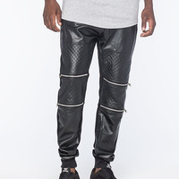 Uncle Ralph Faux Leather Moto Mens Jogger Pants Black/Silver  In Sizes
