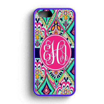 Pretty Floral Jewels Monogrammed  iPhone 5 Case iPhone 5s Case iPhone 5c Case