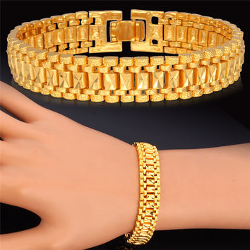 Hot Fashion Yellow Gold Plated Chain Bracelet 19cm Long 12MM Width 1:1 Golden Link Chain For Men/Women Chunky Jewelry Gift H450
