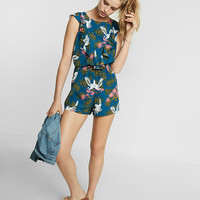 Petite Floral Print Ruffle Front Romper