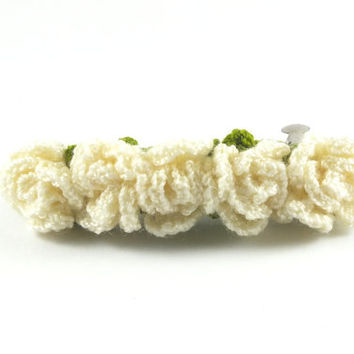 Ivory Crochet Roses Hair Barrette / Hair Clip